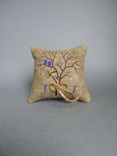 Wedding rustic natural linen Ring Bearer Pillow by pastinshs, $25.00
