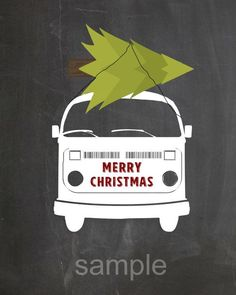Shop for christmas on Etsy, the place to express your creativity through the buying and selling of handmade and vintage goods. Merry Christmas, Vw Bus, Etsy Cards, Printable Cards, Christmas Printables, Cute Photos, Photo Cards, Handmade Gifts, Chalkboards