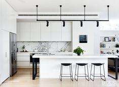 Modern Kitchen Interior Remodeling 97 Fancy Black and White Kitchen Ideas Modern Kitchen Design, Interior Design Kitchen, White Contemporary Kitchen, Modern Kitchen Inspiration, Modern White Kitchens, White House Interior, Modern Kitchen Lighting, Modern Design, Modern Kitchen Interiors