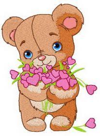 Shy teddy bear 2 machine embroidery design. Machine embroidery design. www.embroideres.com