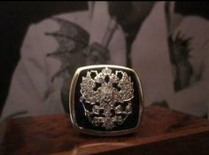 """Elvis' famous double headed eagle """"Russian Tsar"""" crest claw ring. This unique ring has incredible history and impeccable provenance, with well over 100 photographs of it being worn by Elvis. The ring was  auctioned at Omega Auctions, where also a Hamilton Elvis Presley watch, which was owned and worn by Elvis, was auctioned."""