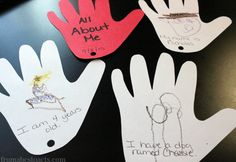 Hand Print Pages for All About Me Book