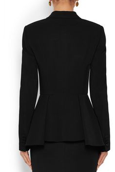 Black stretch-crepe Padded shoulders, front welt pocket, button embellishment, pleated peplum, fully lined Snap fastening at front 95% viscose, 5% elastane; lining: 100% viscose  Dry clean  Made in Italy