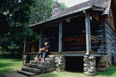 cabin porches   Johnny Cash Playing Guitar on Cabin Porch - OUT931829 - Rights Managed ...