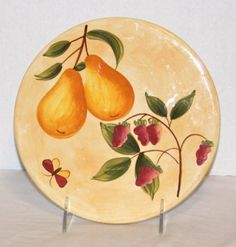 Pier-1-Provence-Trivet-Round-Hand-Painted-Earthenware-Pear-Raspberries-Hot-Pad