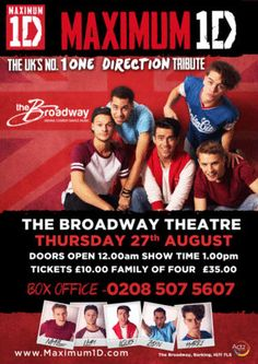 """Maximum 1D (One Direction Tribute)"" on 27th August, 2015 at 1:00 pm - 3:00 pm. Prepare yourselves for the Maximum 1D experience! Simply one of the best 'Tribute Acts' to the biggest group on the planet right now. Category: Arts 