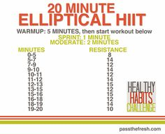 20 minute elliptical HIIT. Great workout ideas in this blog post! #HIIT #elliptical #workout #weightloss #healthyhabitschallenge