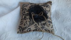 Burlap with Black Damask Wedding Ring Pillow with by TresChicReine, $14.95