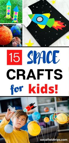 With these 15 Out of This World Space Crafts For Kids, children can learn about the stars, the solar system and the planets without ever having to go there! Space Activities For Kids, Space Crafts For Kids, Activities For 2 Year Olds, Pre K Activities, Steam Activities, Art For Kids, Summer Crafts, Fun Crafts, Amazing Crafts