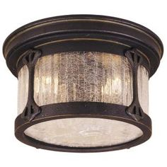 Flush-Mount 2-Light Outdoor Rustic Iron Lantern-HD169243 at The Home Depot