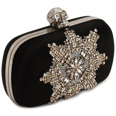 Alexander McQueen Satin Star Embroidered Classic Skull Box Clutch (133385 DZD) ❤ liked on Polyvore featuring bags, handbags, clutches, purses, bolsas, alexander mcqueen, satin clutches, studded handbags, black studded purse i skull box clutch