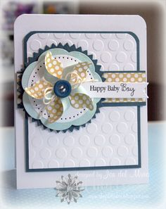 Loving this from Jen del Muro using the Mini Pinwheel Die from Lil' Inker Designs. Baby Boy Cards, New Baby Cards, Baby Shower Cards, Karten Diy, Embossed Cards, Card Making Inspiration, Scrapbook Cards, Scrapbooking Ideas, Card Tags