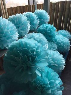Light blue pompoms