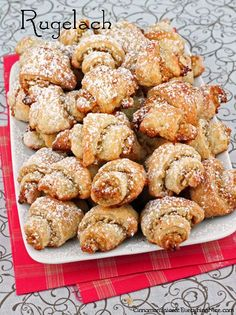 JUWISH RUGELACH Made from a rich and flavorful pastry with both cream cheese and butter, they have crusty outsides that crunch when you bite into them giving way to tender, flaky insides and sweet layers of honey walnut filling. Tea Cakes, Holiday Baking, Christmas Baking, Christmas Cookies, Cookie Recipes, Dessert Recipes, Top Recipes, Pastry Recipes, Rugelach Cookies