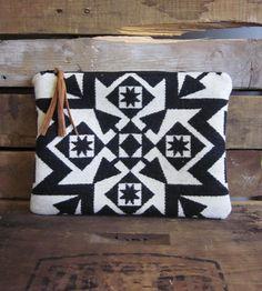 Black & White Geometric Wool Clutch