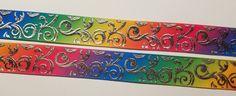 "6 Yards 7/8"" Multi-Color Silver Metallic Swirls Inspired Grosgrain Ribbon #Unbranded"