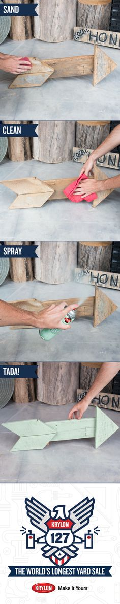 Want to turn your junk into treasures? We found this arrow at the #Krylon127YardSale and gave it a new look with Krylon COVERMAXX Pistachio. Follow these easy steps to transform yours. 1) Sand the surface 2) Clean the surface 3) Shake the spray can 4) Spray light even coats of paint. Voila! You have a beautiful new home decoration! Check out our treasures at the first-ever Pinterest Yard Sale and buy your favorites! Proceeds will be donated to Charity Wings, an arts education non-profit.
