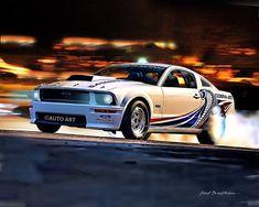 Auto Art, Car Art, Muscle Car, Ford Mustang Cobra Jet, Auto Art, Hot Rod Art, A102