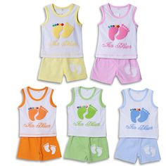 Hot Sale High Quality New Baby Clothing Set Kids Feet Printed Sets Baby Boy Casual Suits Girls Summer Sets 5 Color