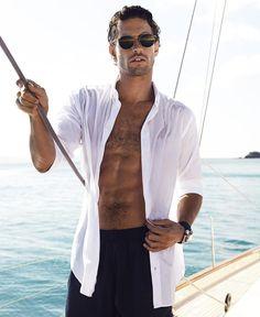 #GiorgioArmani sunglasses, cotton shirt and nylon swim trunks