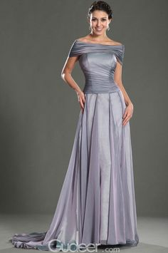 off-the-shoulder pleated floor length prom dress