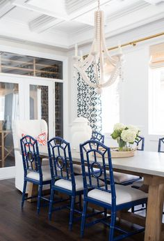 Prep in the Pacific Palisades: Entry, Living & Dining Coastal Dining Room, blue and whiteCoastal Dining Room, blue and white Casual Dining Rooms, Blue Dining Room Chairs, Dining Room Bench, Dining Room Sets, Dining Room Design, Dining Room Furniture, Navy Chairs, Painted Dining Chairs, Accent Chairs
