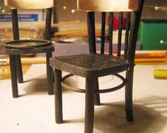 "mini-cottages: Black chairs bent replica ""Thonet, scale 1:10 - step by step"