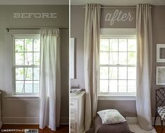 Hang curtains up to the ceiling to make a low ceiling look taller