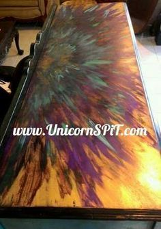 Buffet top done in Unicorn SPiT over gold metallic spray paint Funky Furniture, Paint Furniture, Furniture Makeover, Unicorn Spit Stain, Concrete Projects, Art Projects, Faux Stained Glass, Painting Techniques, Retro