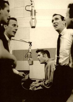 1956 Radio Recorders Studio in Hollywood, Elvis and a group of backup singers  www.robertnixcomposer.com