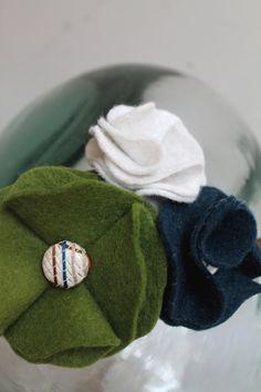 Green and Navy Wool Felt Flower Headband by BugsandGuppies on Etsy