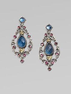 Semi-Precious Multi-Stone Chandelier Earrings