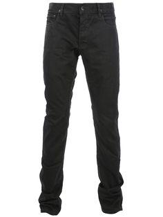 Rick Owens black waxed slim fit jeans