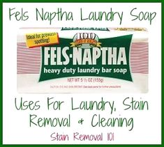 Did you know Fels Naptha soap had so many uses for stain removal, laundry, and cleaning. It isn't just for making laundry soap anymore! It is the cheapest and most versatile stain remover plus more! Homemade Cleaning Products, Household Cleaning Tips, Deep Cleaning Tips, Cleaning Recipes, Green Cleaning, Natural Cleaning Products, Cleaning Solutions, Cleaning Hacks, Household Cleaners