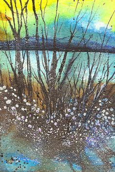 ''PROMISE OF SPRING''. Painted using The Elegant Writer Pen, and various Inks including, Liquid Acrylic Inks, & India Inks.