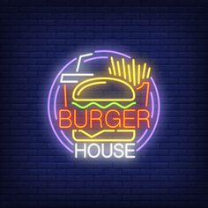 hamburger, fries, drink takeaway and round frame Free Vector Led Neon Signs, Neon Light Signs, Comida Delivery, Hamburger And Fries, Neon Logo, Store Layout, Neon Design, Neon Aesthetic, Business Card Psd