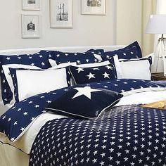 Buy Gant Star Border Duvet Cover, Navy - love mix with red euro star pillows Star Bedding, Hotel Collection Bedding, Big Pillows, Lexington Home, New England Style, Beds Online, Cozy Bed, Awesome Bedrooms, Duvet Sets