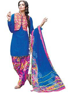 Blue Blended #Cotton #Patiala #Suit