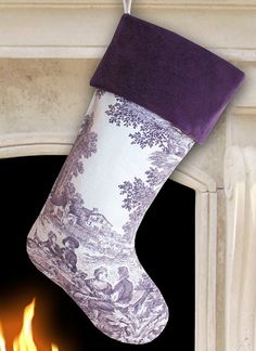 Purple Toile Christmas Stocking with Purple Velvet Cuff Purple Love, All Things Purple, Shades Of Purple, Pink Purple, Lilac, Purple Velvet, Lavender Color, Purple Leather, Purple Christmas