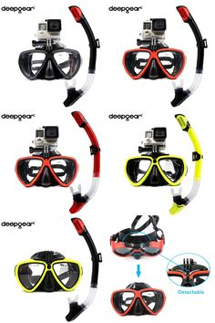 [Visit to Buy] DEEPGEAR Detachable camera mount mask dry snorkel gears Twin lens low profile scuba diving mask black silicone underwater mask #Advertisement