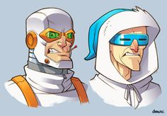 Flash Rogues Heat Wave and Captain Cold in color. Pencil with digital color.