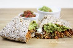 Kimchi Fried Rice and Creamy Black Bean Burritos.  Packed with flavor.  So creamy and delicious.