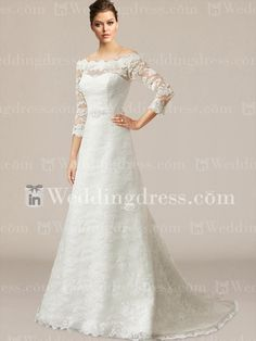 Vintage Lace Scalloped Wedding Dress with Sleeves DE447N