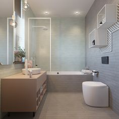 Minimalist and beautiful kids bathroom design with soft color. It will make your kids feel comfortable.