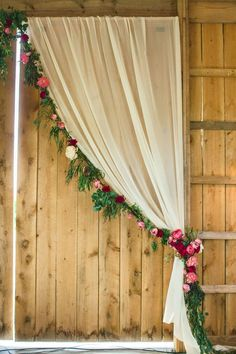 Drapery and Floral Garland Barn Wedding Ideas Farm Barn Wedding Inspiration Rustic Barn Ceremony Rustic Barn Reception Barn Wedding Styling Country Barn Wedding Flowers Farm Barn Wedding Decor Trendy Wedding, Rustic Wedding, Dream Wedding, Wedding Ideas, Diy Wedding Photo Booth, Pallet Wedding, Wedding Inspiration, Rustic Barn Weddings, Rustic Photo Booth