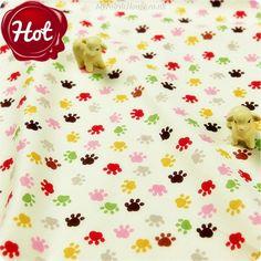 BESTSELLER | Pets ♥ 49x50cm Cute Paw Print in Cream Cotton Fat Quarter Fabric