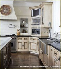 Custom Cabinets in Patina Stain this would extend built ins look into kitchen Kitchen Oven, Kitchen Corner, Kitchen Redo, New Kitchen, Kitchen Remodel, Kitchen Pantry, Corner Microwave, Kitchen Ideas Microwave Placement, Oven Cabinet
