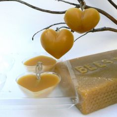 Handmade Ornament Kit, beeswax bees wax hearts love diy do it yourself christmas decoration Waldorf tutorial learn how to wedding favorteamt Woodland Christmas, Handmade Christmas, Handmade Ornaments, Handmade Soaps, Making Beeswax Candles, Honey Bee Hives, Honey Bees, Wax Tarts, Bee Theme