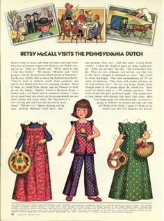 Vintage August 1973 Magazine Paper Doll Betsy McCall Visits the Pennsylvania Dutch