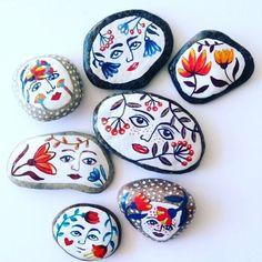 My weekday nights translated into painted sea pebbles. #miniatureart #tinyart…